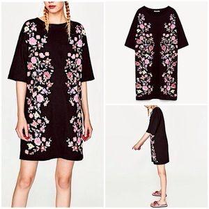 Zara Trafaluc Floral T-shirt Dress